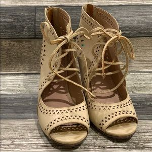 Restricted Nude Gladiator Lace Up Wedge 8
